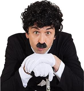 Charlie Chaplin Set 20er años de barba y bigote negro estrella de cine de la peluca y bigote Moustache destacado y pelo 30er para hombre juego de bigote años con disfraces de carnaval de accesorios para hombre de la peluca
