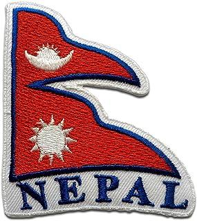 Nepal bandera - Parches termoadhesivos bordados aplique para ropa, tamaño: 7,8 x 6,8 cm