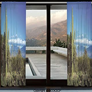 Symmetric Shutters Decorative Sheer Curtains for Kitchen Window Drapes with Rod Pocket for Small Windows,2 Panels,Desert,Wide View of the Tucson Countryside with Cacti Rural Wild Landscape Arizona Ph