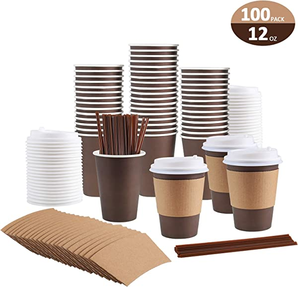 100 Pack 12 Oz Coffee Cups Paper Coffee Cups With Lids Straws And Sleeves Disposable Coffee Cups 12 Oz Coffee Cups Disposable Coffee Cups With Lids Paper Coffee Cups With Lids 12 Oz Paper Coffee Cup