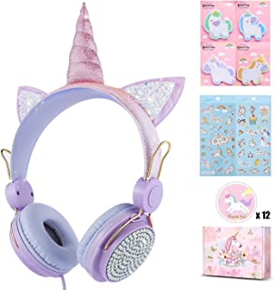 Unicorn Kids Headphones for Girls Children Teens, Wired Headphones for Kids with Adjustable Headband, 3.5mm Jack and Tangle-Free Cord, Over On Ear Headset w/Mic for School Xmas Unicorn (Purple)