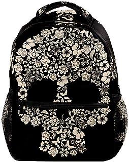 Mochilas con forma de calavera de flores, bolsas de viaje, mochila escolar para hombres, mujeres y niñas