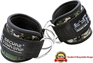 Grip Power Pads Best Ankle Straps for Cable Machines Double D-Ring Adjustable Neoprene Premium Cuffs to Enhance Legs, Abs & Glutes for Men & Women