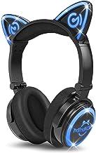 MindKoo Bluetooth Headphones, Cat Ear Headphones LED Light Up Wireless Headphones Over Ear wiht Microphone, Foldable and V...