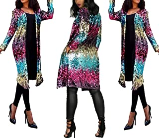 Women's Sequins Open Front Long Sleeve Club Cardigan for Evening Prom