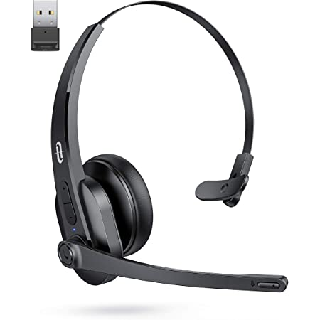 TaoTronics Bluetooth Headset with Microphone, Wireless Headset with USB Adapter for PC, Noise Cancel Mic, On Ear Headphone Bluetooth 5.0 34H for Trucker Home Office Online Class Call Center Skype Zoom