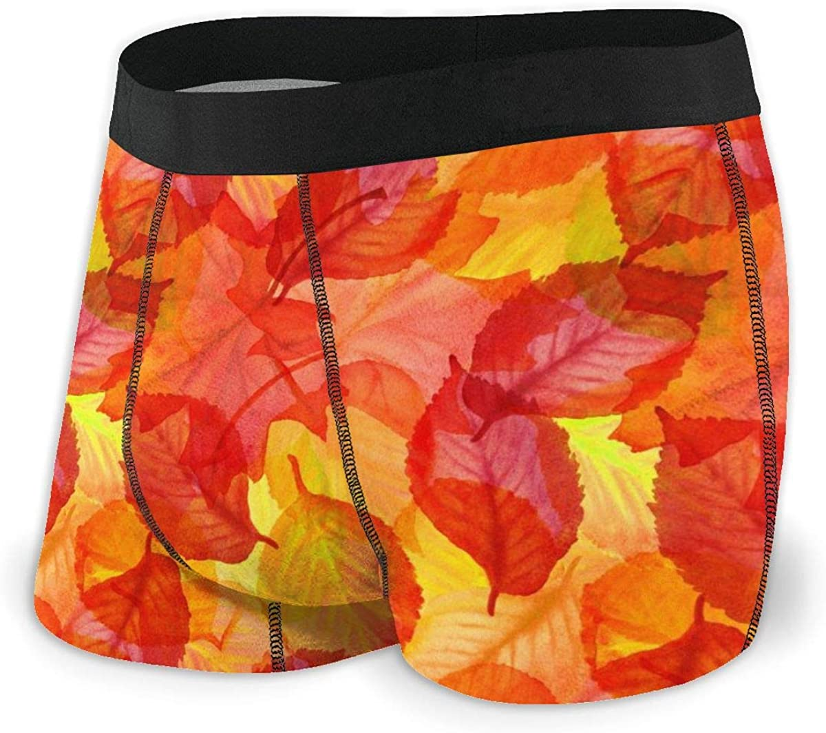 Mens Boxer Briefs Watercolor Autumn Leaves Red Breathable Underwear