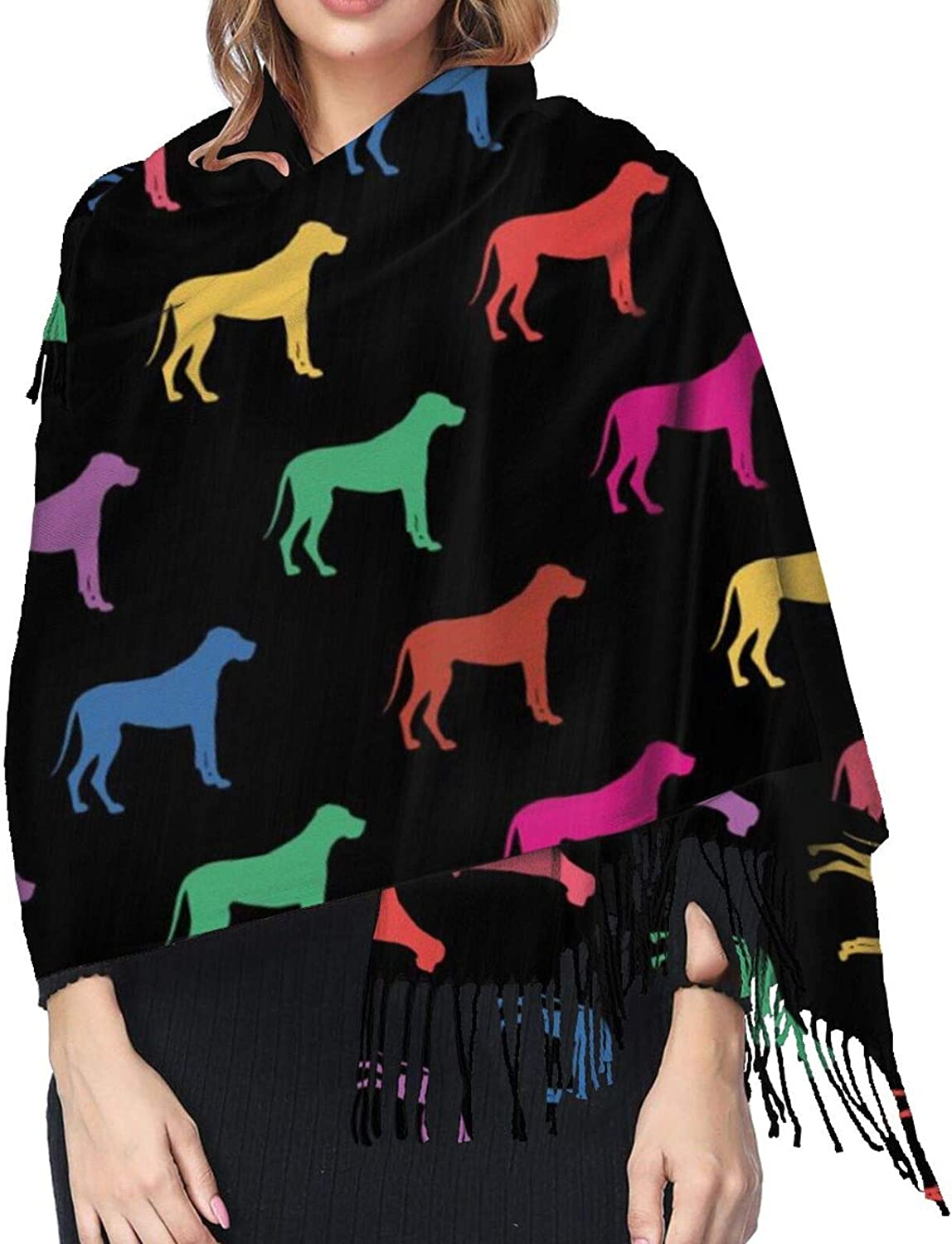 Great Dane Dogs Colors Cashmere Scarf Fashion Long Shawl with Fringed Edges Super Soft Warm Cozy Light Blanket Scarves Wrap Ultra Warm Winter Accessories Gifts For Men And Women