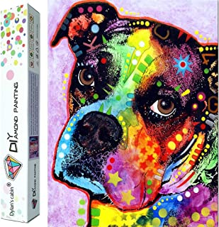 MXJSUA DIY 5D Diamond Painting Full Round Drill Kit Rhinestone Picture Art Craft for Home Wall Decor 12x12In Black Bulldog Holding Popcorn and Cola