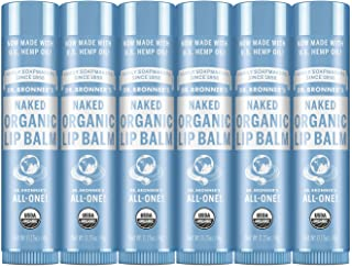 Dr. Bronner's - Organic Lip Balm (.15 ounce, 6-Pack) - Unscented, Made with Organic Beeswax and Avocado Oil, For Dry Lips,...
