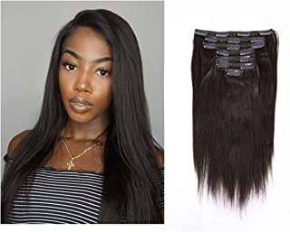 Lacerhair Real Remy Human Light Yaki Hair Clip in Hair Extensions Kinky Straight Natural Black Color For American African Double Weft Full Head Relaxd Hair 120G 7Pieces 10-22 inch (20 inch, Yaki #1B)