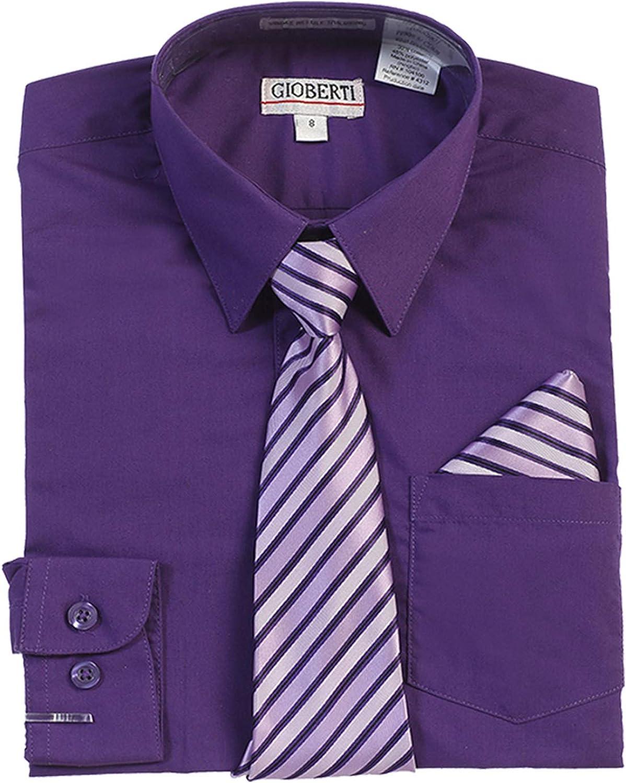 Gioberti Boy's Long Sleeve Dress Shirt + Stripe Tie, Bow Tie and Hanky