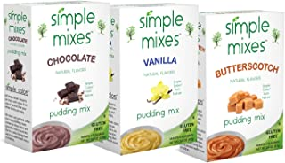 Simple Mixes Chocolate, Vanilla and Butterscotch Variety Pudding (Pack of 6)