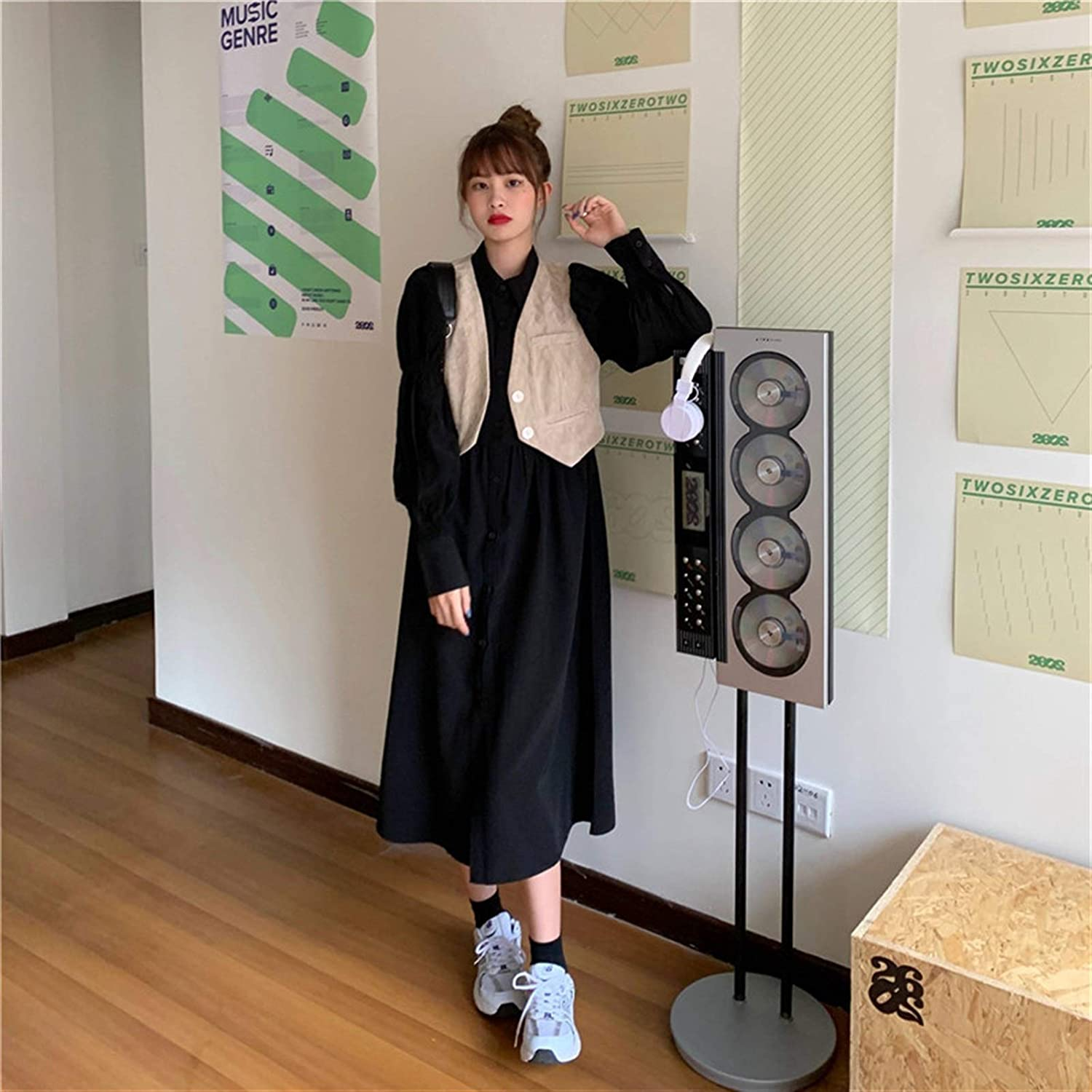 BangHaa Fashion Suit Women 2021 Spring and Autumn New Korean Style Wild Shirt Mid-Length Dress + Vest Two-Piece for Beach Vacation (Color : Black, Size : One Size)