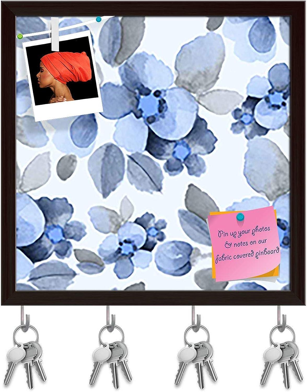 Artzfolio Summer Flowers D2 Key Holder Hooks   Notice Pin Board   Dark Brown Frame 20 X 20Inch