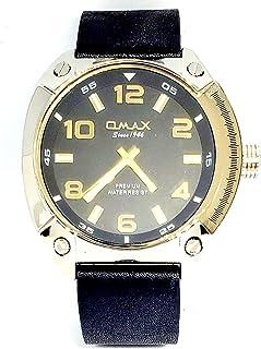 ساعة اوماكس للرجال - رياضية، ربع لتر، مينا اسود - سوار من الجلد - مقاومة للماء - Beeb1231
