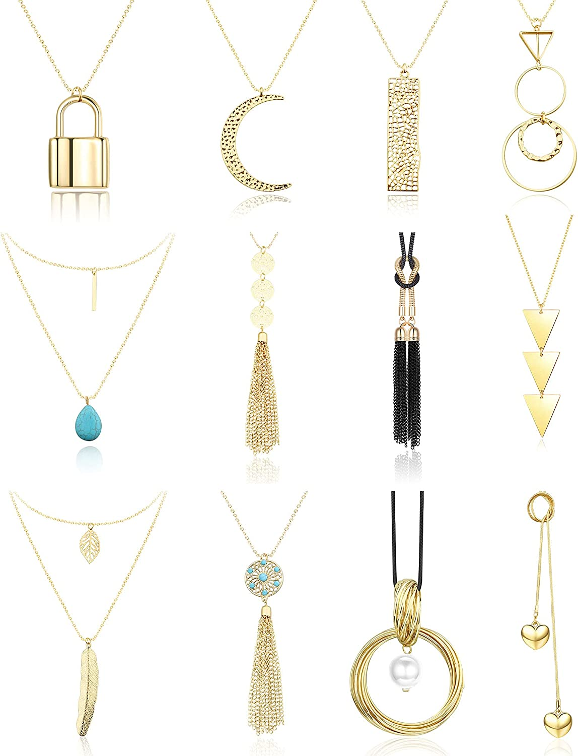 Subiceto 12 PCS Long Pendant Necklaces for Women Triangle Lock Tassel Y Necklaces Set Sweater Jewerly Accessories