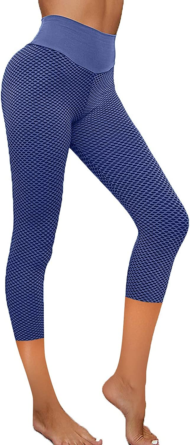MASZONE Women High Waisted Yoga Pants Textured Ruched Butt Lifting Leggings Anti Cellulite Workout Tummy Control Tights