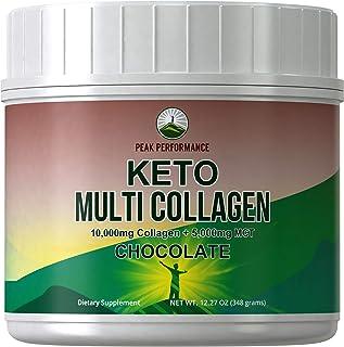 Keto Multi Collagen Chocolate Protein Powder + MCT Oil Powder. Perfect 2:1 Ratio Zero Carb 10,000mg Grassfed Collagen Pept...