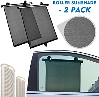 2win2buy Retractable Car Sunshades for Side Window Car Roller Sun Shades with Suction Cups, UV Protection for Kids Baby Child, Keep Your Veicle Cool Universal Fit 2 Pack