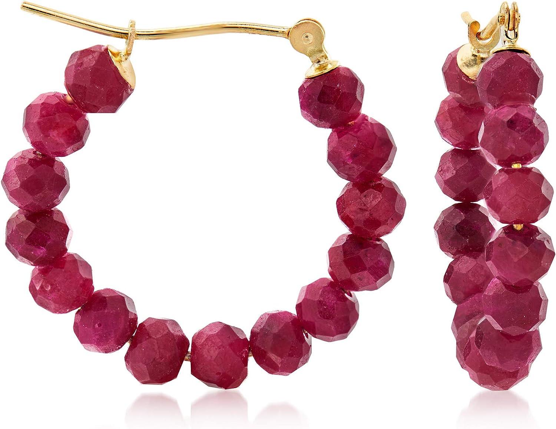 Ross-Simons 13.00 ct. t.w. Ruby Hoop Earrings in 14kt Yellow Gold