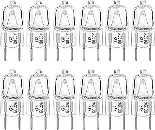 G8 Light Bulbs 20Watt 120Volt Halogen Light Bulb G8 Base Bi-Pin Shorter 20W T4 JCD Warm White Under Cabinet Puck Lighting Replacements,12Pack