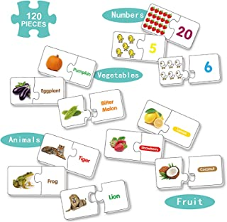 Match It Puzzle for Kids 120 Piece,Sight Word Puzzle, Spelling Puzzle, 4 in 1 Fruit-Animal-Number-Vegetable for Children L...