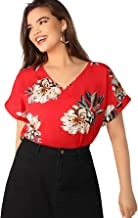 Romwe Women's Plus Top Short Sleeve Floral Blouse Tunic Shirt