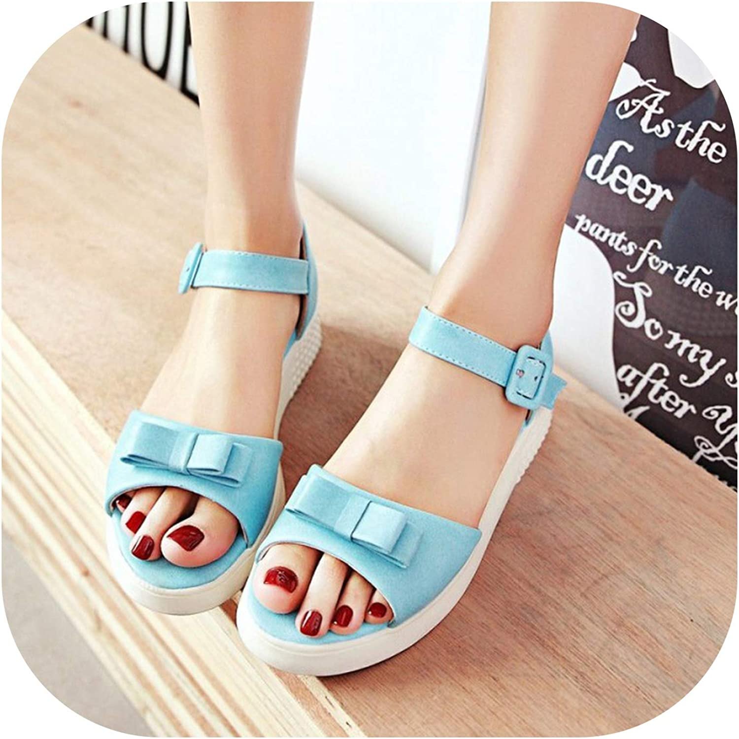 Women's Sandals Spring and sOne Word Buckle Princess Wild Sweet Bow Ms Sandals Plus Size 33-43