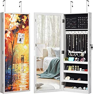 CHARMAID Lockable Wall/Door Mounted Jewelry Cabinet with 3D Magnetic Door Surface and Full Length Mirror, Large Capacity Jewelry Armoire with Colorful Picture Frame, Painted Jewelry Organizer (Autumn)