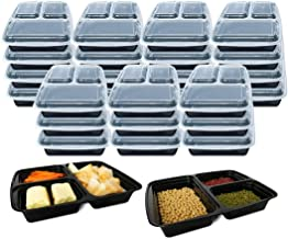 3 Compartment [10 Pack] Premium BPA Free Reusable Meal Prep Containers - Plastic Food Storage Trays with Airtight Lids - M...