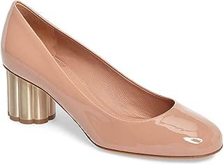 SALVATORE FERRAGAMO Lucca Rounded Toe Flower Heel Pump Shoes Size 40.5