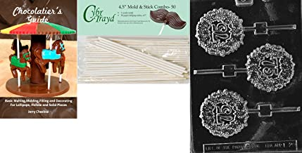 Cybrtrayd '75th Lolly' Letters and Numbers Chocolate Candy Mold with 50 4.5-Inch Lollipop Sticks and Chocolatier's Guide