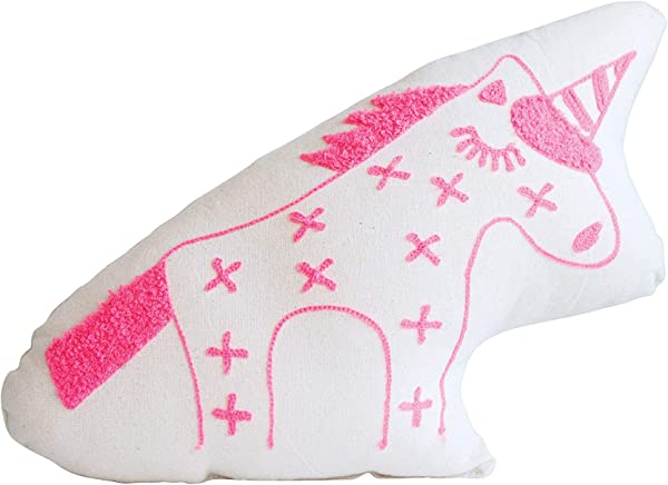 Creative Co Op Cotton Embroidered White Pink Unicorn Pillow
