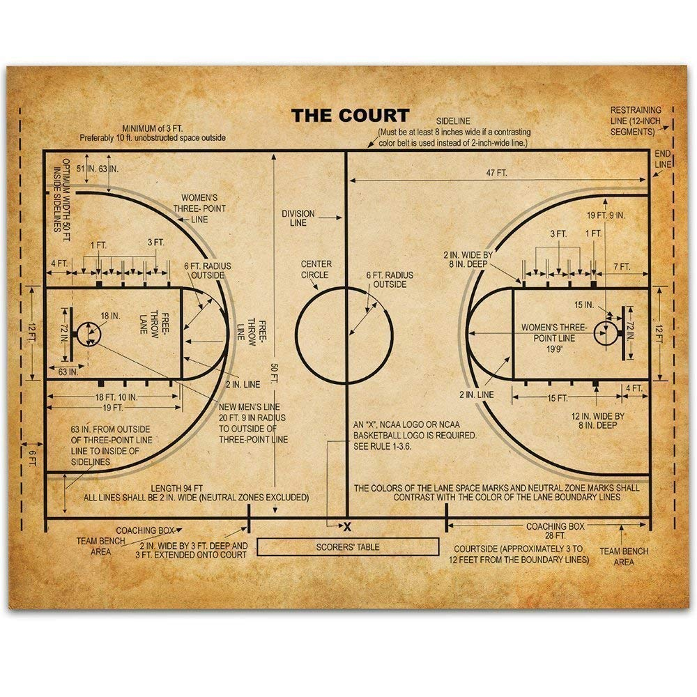 Vintage Basketball 4 years warranty Court - specialty shop 11x14 Patent B Unframed Great Print