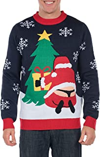 Men's Winter Whale Tail Santa Sweater - Funny Ugly Christmas Sweater