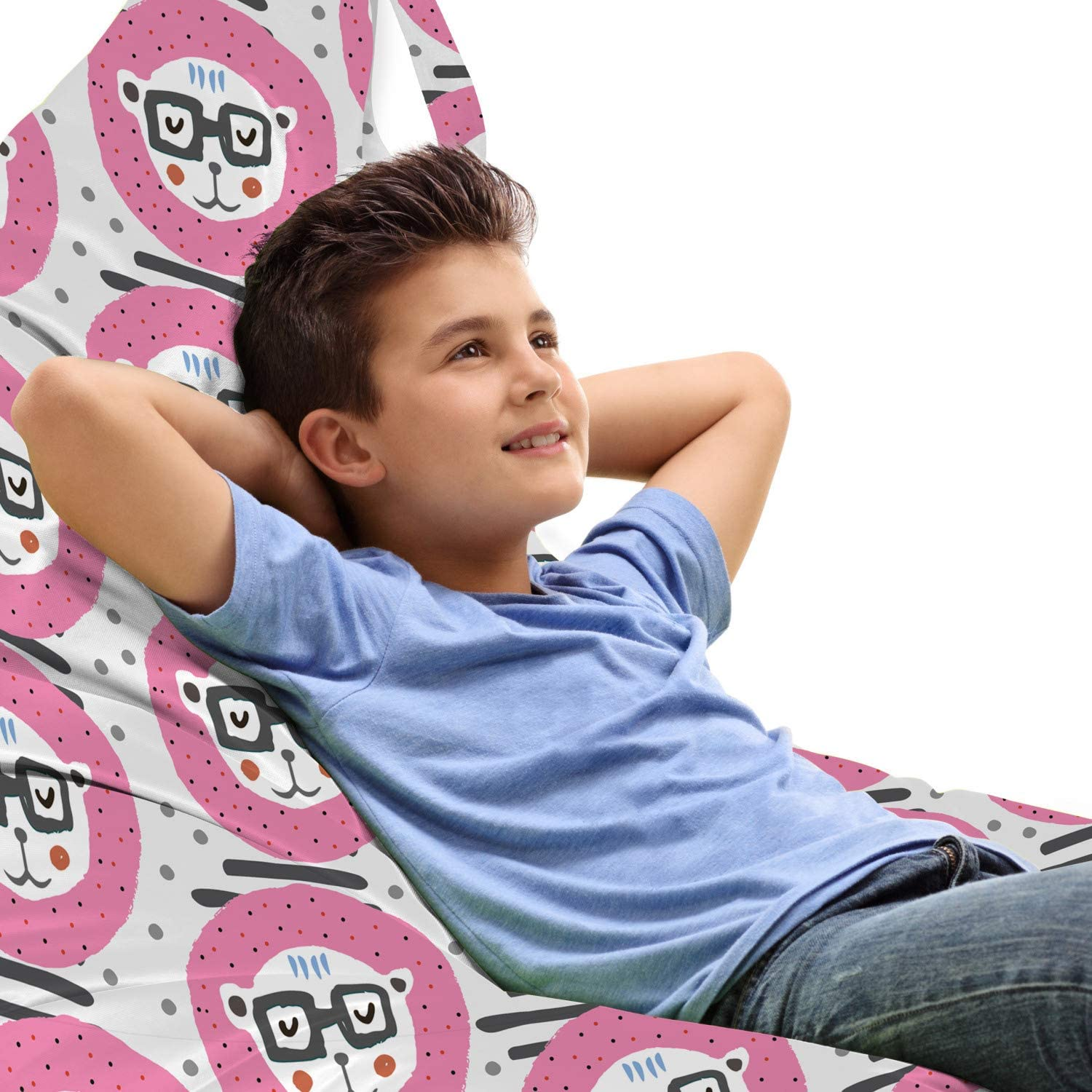 Lunarable Cartoon Lounger Chair Bag Funny Heads New mail order Po in wholesale Hear Lion