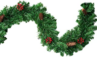 Christmas Garland Artificial Xmas Wreaths Garlands Decorations with Red Berries, Pine Cones, Bows Ornaments for Front Door, Stairs, Mantel, Fireplace Decor(9 ft)
