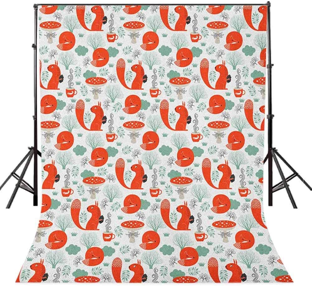 8x12 FT Fox Vinyl Photography Background Backdrops,Small Forest Animal Pattern with Foliage Leaves and Mushroom Winter Nature Background for Photo Backdrop Studio Props Photo Backdrop Wall