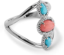 product image for Carolyn Pollack Sterling Silver Turquoise and Salmon Coral Three Stone Ring Size 6