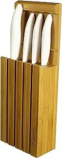 KYOCERA Blanco Juego pelar utilitario rebanador Santoku, Bloque bambú para 4 Cuchillos, Hoja cerámica de circonio, Afilado a Mano, liviano, no corrosivo, Mango, 7.5 cm + 11 cm + 13 cm + 14 cm