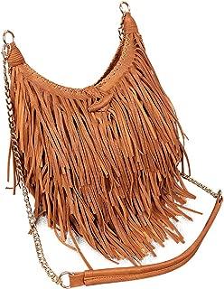LUI SUI Women's Fashion Fringed Shoulder Bag Tassel Cross Body Bags