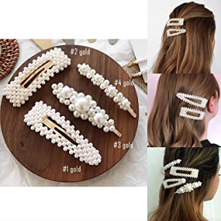 SJ Pearls Hair Clips Set for Women Girls - 4pcs Handmade Large Bows Clips Ties for Birthday Valentines Day Bridesmaid Gifts Bling Hairpins Headwear Barrette Styling Tools Accessories