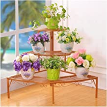 JUAN 3 Layer Display Stand, European Wrought Iron Stepped Flower Pot Holder for Home Garden Items Display (84 * 60cm) (Color : Gold)