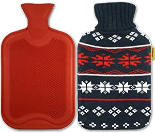 AQUAPAPA Large 1/2 Gallon Classic Non Toxic Natural Rubber Hot Water Bottle with Snow Flake Knit Cover, Back Pain Relief, ...