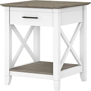 Bush Furniture Key West End Table with Storage, Pure...