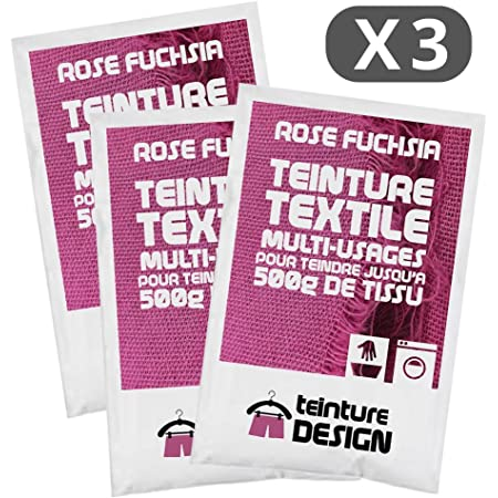 Juego de 3 bolsas de tinte textil para ropa y telas naturales, color rosa fucsia