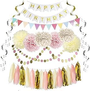 Free Yoka Birthday Party DecorationsKit Kids Girls Supplies with Banner, Flag, Tissue Flowers, Hanging Swirls, Dot Garland in Pink