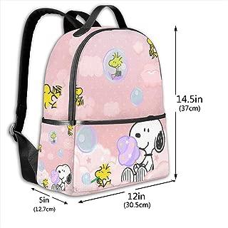 Classic School Backpack Snoopy Colorful Unisex College Schoolbag Travel Bookbag Black
