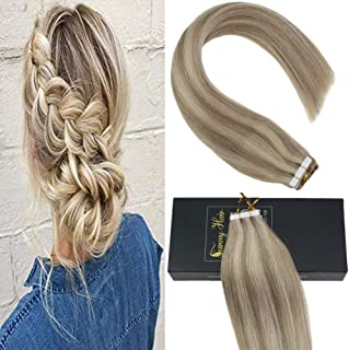 Sunny Tape in Blonde Hair Extensions 18 inch Golden Blonde Highlighted with #22 Medium Blonde Tape in Hair Extensions Human Hair Highlighted Tape in Extensions 25g/set